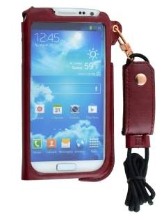 Ultra Slim Synthetic Leather Pouch with Strap for Samsung Galaxy S4 - Chestnut