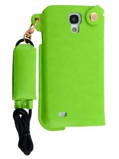 Ultra Slim Synthetic Leather Pouch with Strap for Samsung Galaxy S4 - Lime Green