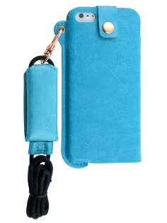 Ultra Slim Synthetic Leather Pouch with Strap for iPhone SE/5s/5 - Sky Blue