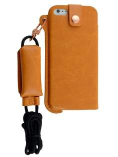 Ultra Slim Synthetic Leather Pouch with Strap for iPhone SE/5s/5 - Caramel