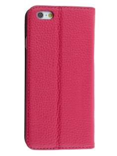 Genuine Textured Leather Wallet Case with Stand for iPhone 6s Plus/6 Plus - Coral Pink