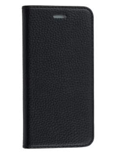 Genuine Textured Leather Wallet Case with Stand for iPhone 6s Plus/6 Plus - Classic Black