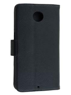 Motorola Google Nexus 6 Slim Synthetic Leather Wallet Case with Stand - Classic Black