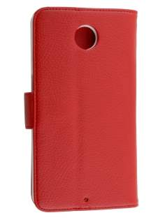Synthetic Leather Wallet Case with Stand for Motorola Google Nexus 6 - Red