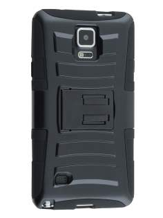 Rugged Case with Holster Belt Clip for Samsung Galaxy Note 4 - Classic Black Impact Case