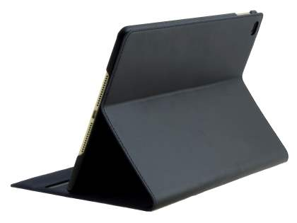 Premium Genuine Leather Portfolio Case with Stand for iPad Air 2 - Classic Black Leather Flip Case