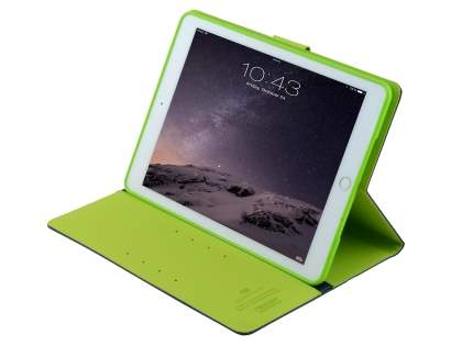 Mercury Colour Fancy Diary Case with Stand for iPad Air 2 - Navy/Lime