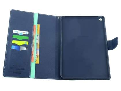 Mercury Colour Fancy Diary Case with Stand for iPad Air 2 - Mint/Navy