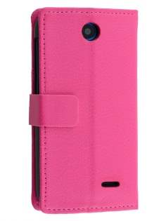 Synthetic Leather Wallet Case with Stand for HTC Desire 310 - Pink Leather Wallet Case