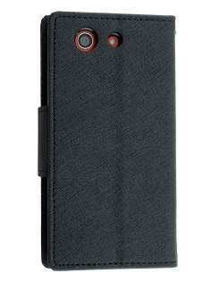 Mercury Colour Fancy Diary Case with Stand for Sony Xperia Z3 Compact - Classic Black