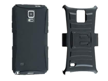 Rugged Case with Holster Belt Clip for Samsung Galaxy Note 4 - Classic Black