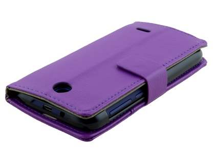 Synthetic Leather Wallet Case with Stand for HTC Desire 310 - Purple
