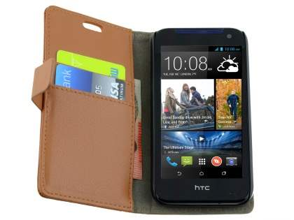 HTC Desire 310 Slim Synthetic Leather Wallet Case with Stand - Brown