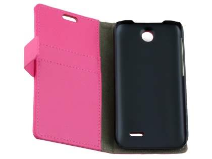 Synthetic Leather Wallet Case with Stand for HTC Desire 310 - Pink