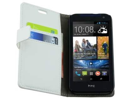 Synthetic Leather Wallet Case with Stand for HTC Desire 310 - Pearl White