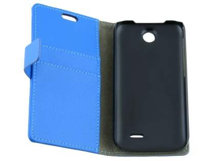 HTC Desire 310 Slim Synthetic Leather Wallet Case with Stand - Blue