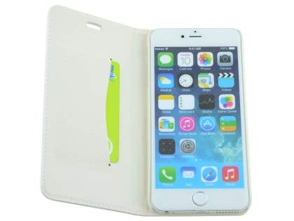 Slim iPhone 6s Plus / 6 Plus Genuine Textured Leather Wallet Case with Stand - Pearl White