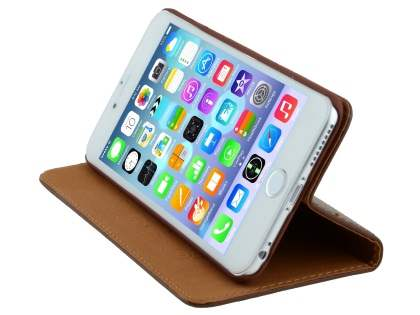 Genuine Textured Leather Wallet Case with Stand for iPhone 6s Plus/6 Plus - Dark Brown