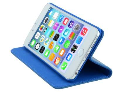 Slim iPhone 6s Plus / 6 Plus Genuine Textured Leather Wallet Case with Stand - Blue