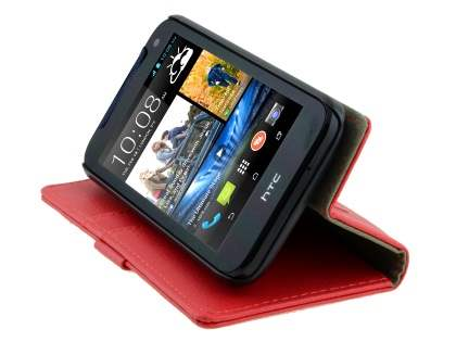 HTC Desire 310 Slim Synthetic Leather Wallet Case with Stand - Red