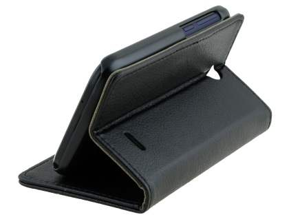 HTC Desire 310 Slim Synthetic Leather Wallet Case with Stand - Black