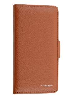 TS-CASE Genuine Textured Leather Wallet Case with Stand for iPhone 6s/6 - Brown Leather Wallet Case