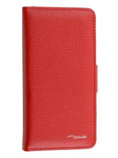 TS-CASE Genuine Textured Leather Wallet Case with Stand for iPhone 6s/6 - Red Leather Wallet Case