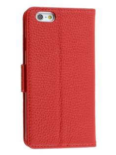 TS-CASE Genuine Textured Leather Wallet Case with Stand for iPhone 6s/6 - Red