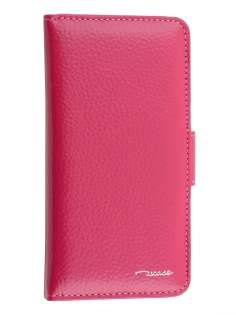 TS-CASE Genuine Textured Leather Wallet Case with Stand for iPhone 6s/6 - Pink Leather Wallet Case