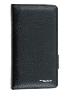 TS-CASE Genuine Textured Leather Wallet Case with Stand for Sony Xperia Z3 Compact - Classic Black Leather Wallet Case