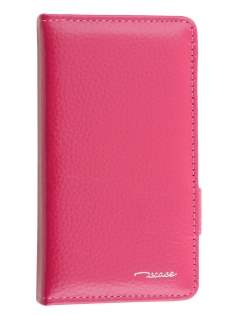 TS-CASE Genuine Textured Leather Wallet Case with Stand for Sony Xperia Z3 Compact - Pink Leather Wallet Case