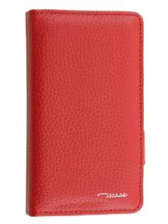 TS-CASE Genuine Textured Leather Wallet Case with Stand for Sony Xperia Z3 Compact - Red Leather Wallet Case