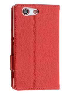 TS-CASE Genuine Textured Leather Wallet Case with Stand for Sony Xperia Z3 Compact - Red