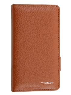 TS-CASE Genuine Textured Leather Wallet Case with Stand for Sony Xperia Z3 Compact - Brown Leather Wallet Case