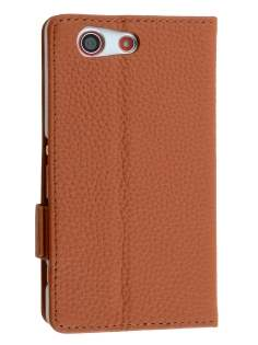TS-CASE Sony Xperia Z3 Compact Genuine Textured Leather Wallet Case with Stand - Brown