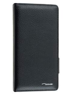 TS-CASE Genuine Textured Leather Wallet Case with Stand for Sony Xperia Z3 - Classic Black Leather Wallet Case