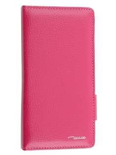 TS-CASE Genuine Textured Leather Wallet Case with Stand for Sony Xperia Z3 - Pink Leather Wallet Case