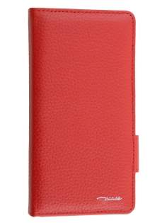 TS-CASE Genuine Textured Leather Wallet Case with Stand for Sony Xperia Z3 - Red Leather Wallet Case