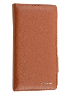 TS-CASE Genuine Textured Leather Wallet Case with Stand for Sony Xperia Z3 - Brown Leather Wallet Case