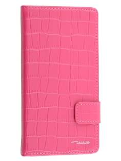 TS-CASE Crocodile Pattern Genuine leather Wallet Case for Sony Xperia Z3 - Pink Leather Wallet Case