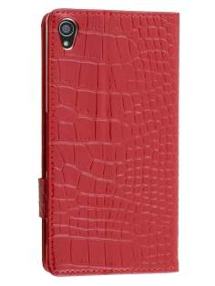 TS-CASE crocodile pattern Genuine leather Wallet Case for Sony Xperia Z3 - Red