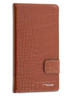 TS-CASE Crocodile Pattern Genuine leather Wallet Case for Sony Xperia Z3 - Brown Leather Wallet Case