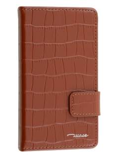 TS-CASE Crocodile Pattern Genuine leather Wallet Case for Sony Xperia Z3 Compact - Brown Leather Wallet Case