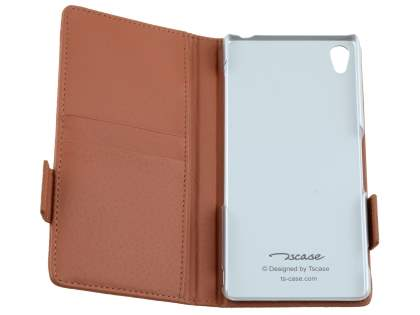 TS-CASE Sony Xperia Z3 Genuine Textured Leather Wallet Case with Stand - Brown