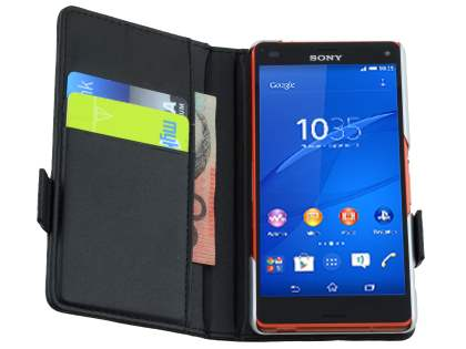 TS-CASE Sony Xperia Z3 Compact Genuine Textured Leather Wallet Case with Stand - Classic Black