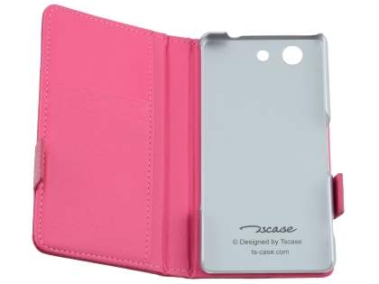 TS-CASE Genuine Textured Leather Wallet Case with Stand for Sony Xperia Z3 Compact - Pink