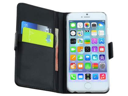 TS-CASE Genuine Textured Leather Wallet Case with Stand for iPhone 6s/6 - Classic Black