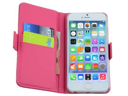 TS-CASE iPhone 6s/6 4.7 inches Genuine Textured Leather Wallet Case with Stand - Pink