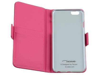 TS-CASE iPhone 6s Plus / 6 Plus Genuine Textured Leather Wallet Case with Stand - Pink