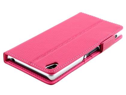 TS-CASE Sony Xperia Z3 Genuine Textured Leather Wallet Case with Stand - Pink